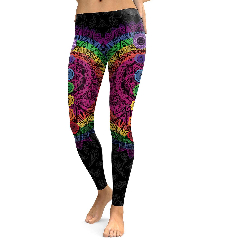 The Chakra Lightning Yoga Leggings; Multicolored Women/'s Yoga Pants by Infinity Design Yoga