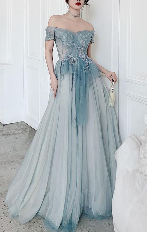 Pastel Blue Off Shoulder Formal Gown with Ruffles (Stunning)