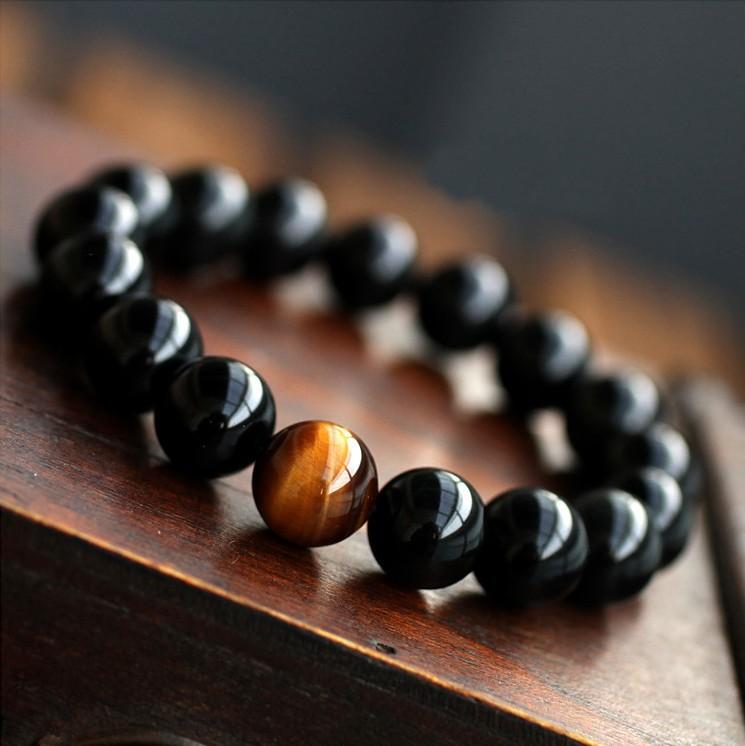 Wood Bangle with Tiger Eye Stones